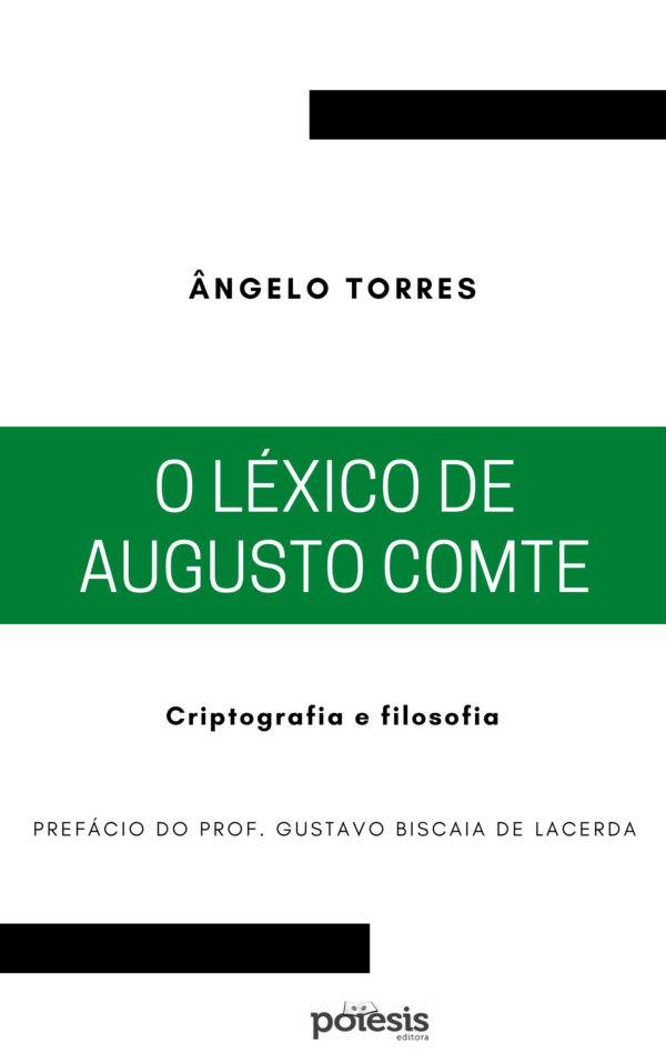 "Capa do livro ""O léxico de Augusto Comte: criptografia e filosofia""."