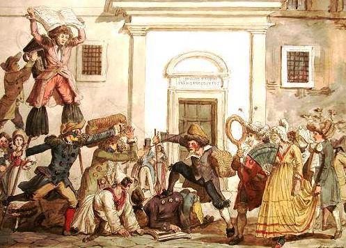 Representação em aquarela do Carnaval romano. Pintura de Achille Pinelli (c.1835).